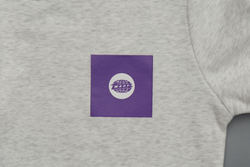 Melange White Warp Logo Sweatshirt with Purple Square Print