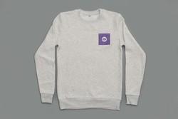 Melange White Warp Logo Sweatshirt with Purple Square Print