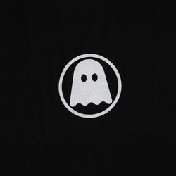 Ghostly Logo Tee - White on Black