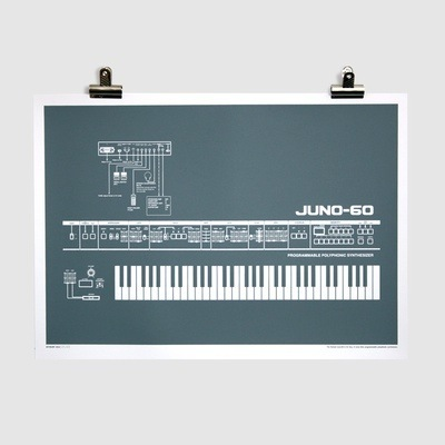 Juno-60 Screen-Printed Poster (Grey)