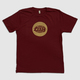 Burgundy Warp Logo T-shirt With Matte Gold Print